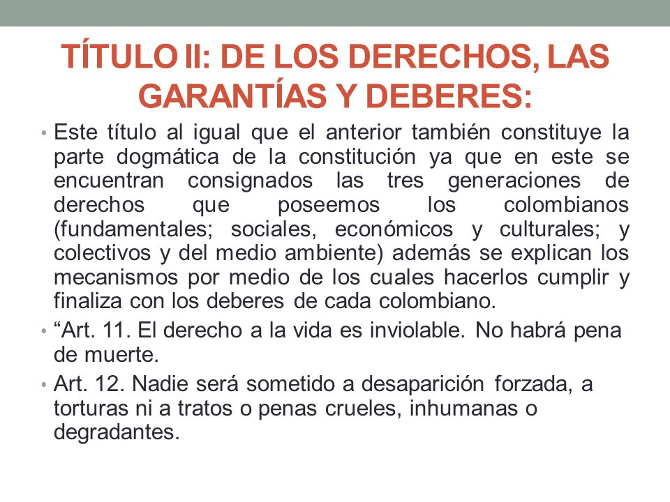 TÍTULO II: DE LOS DERECHOS, LAS GARANTÍAS Y DEBERES:
