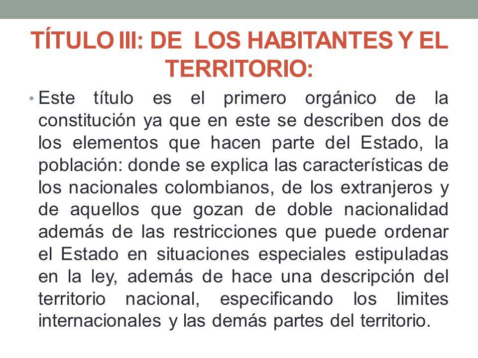 TÍTULO III: DE LOS HABITANTES Y EL TERRITORIO: