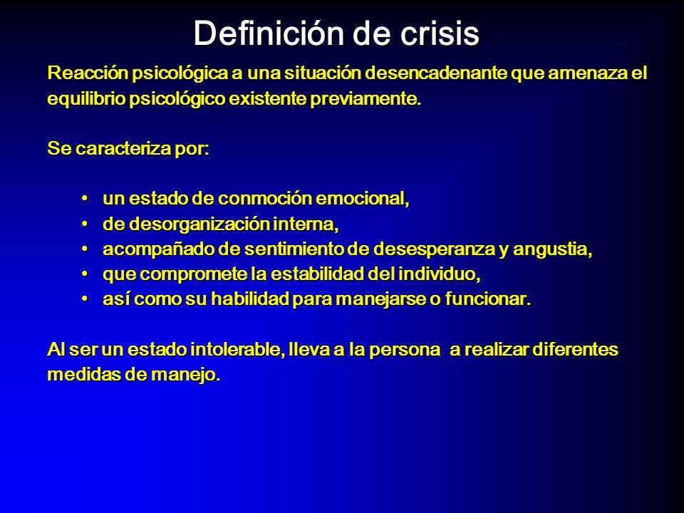 Definición de crisisReacción psicológica a una situación desencadenante que amenaza el equilibrio psicológico existente previamente.