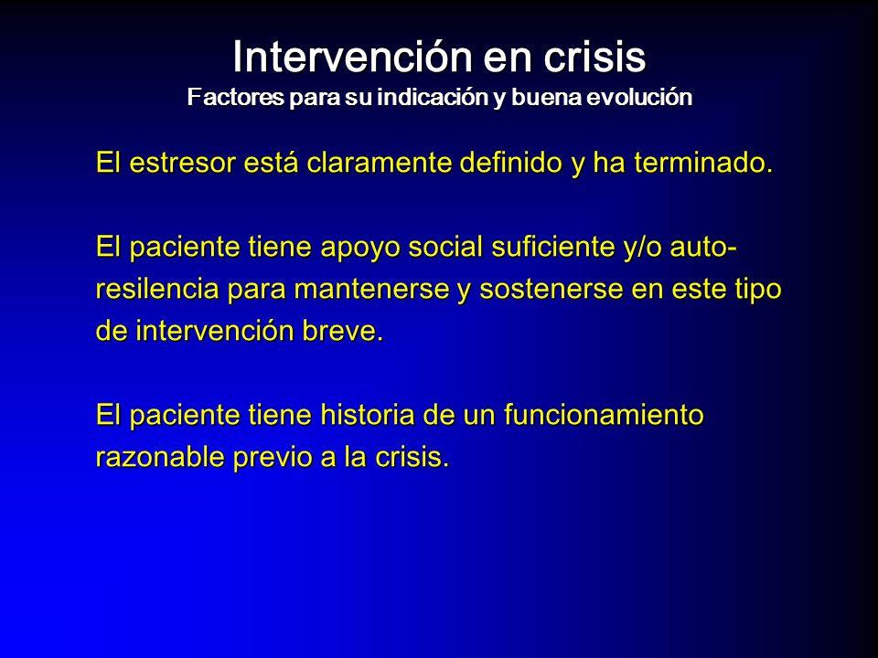 Intervención en crisis Factores para su indicación y buena evolución