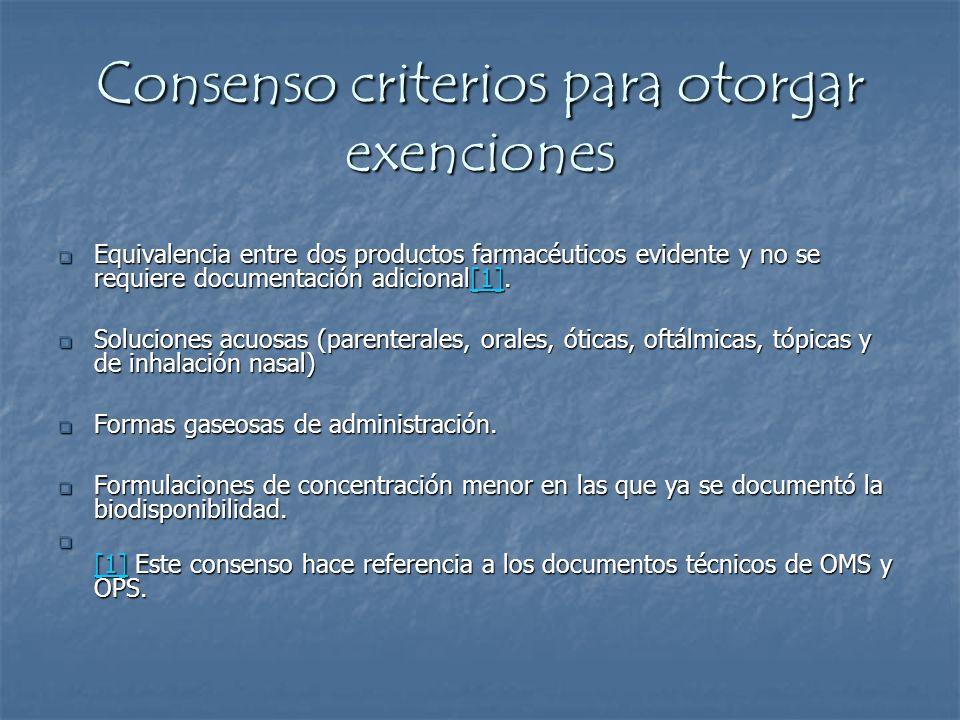 Consenso criterios para otorgar exenciones
