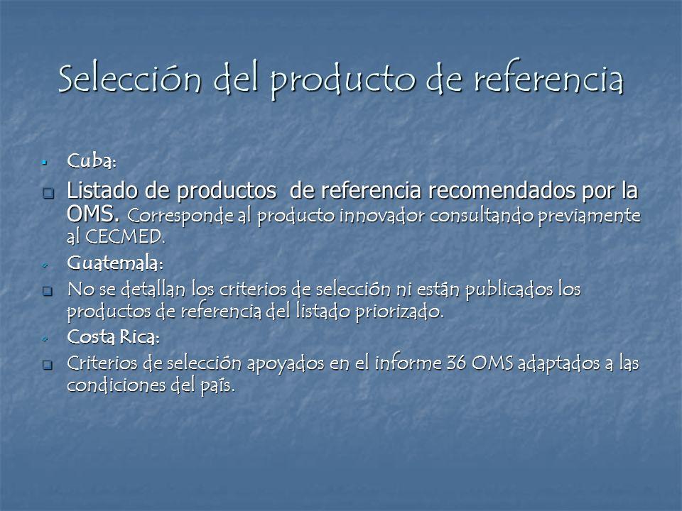 Selección del producto de referencia