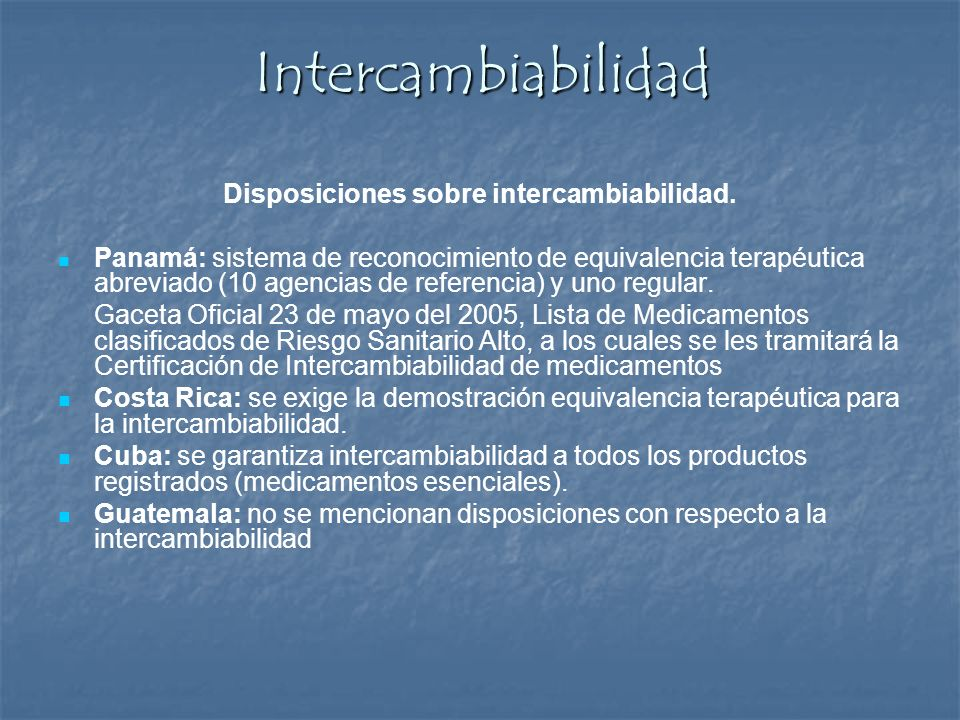 Disposiciones sobre intercambiabilidad.