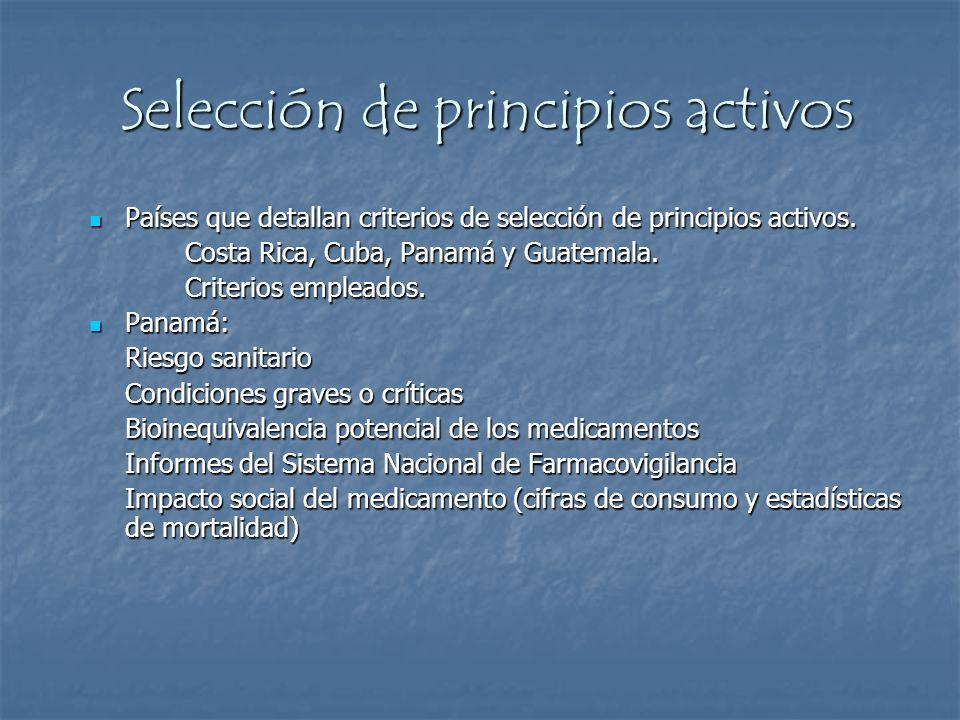 Selección de principios activos