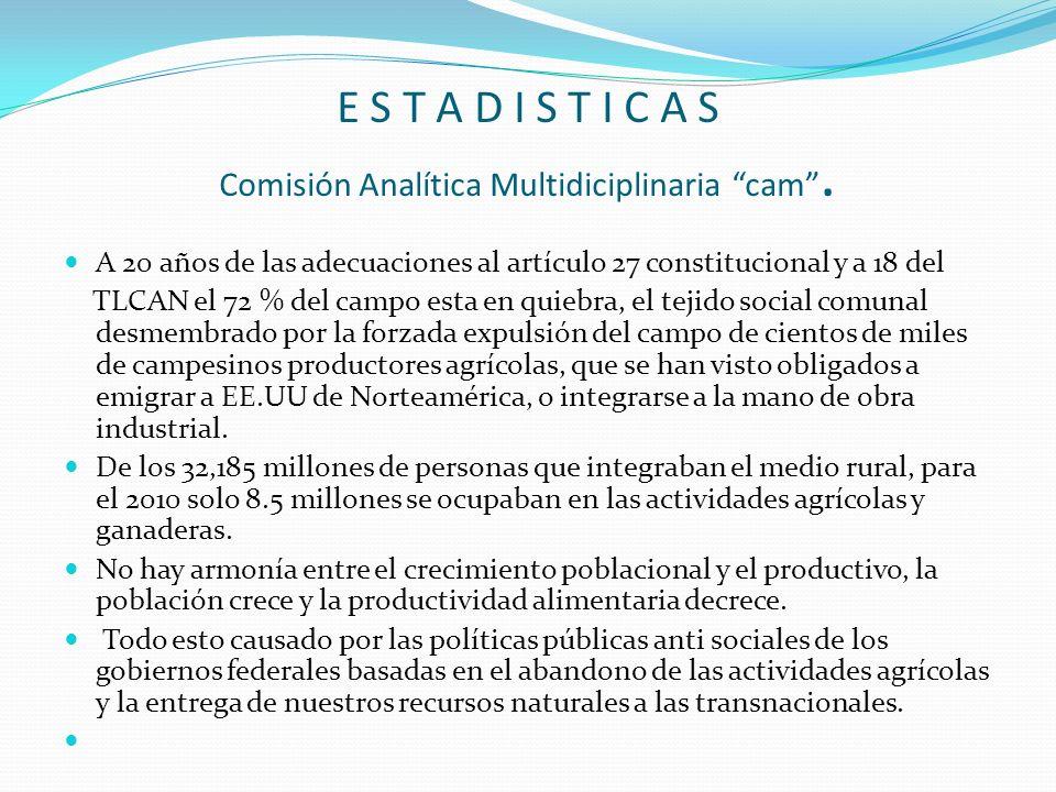 E S T A D I S T I C A S Comisión Analítica Multidiciplinaria cam .
