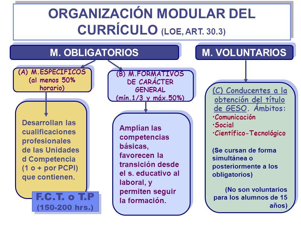 ORGANIZACIÓN MODULAR DEL CURRÍCULO (LOE, ART. 30.3)