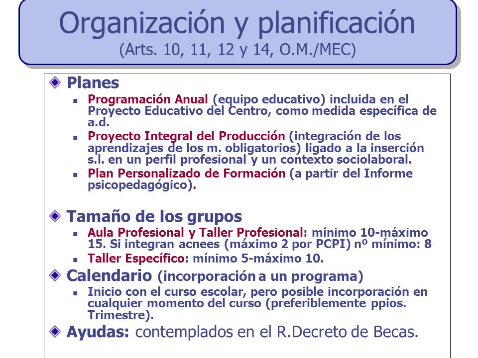 Organización y planificación