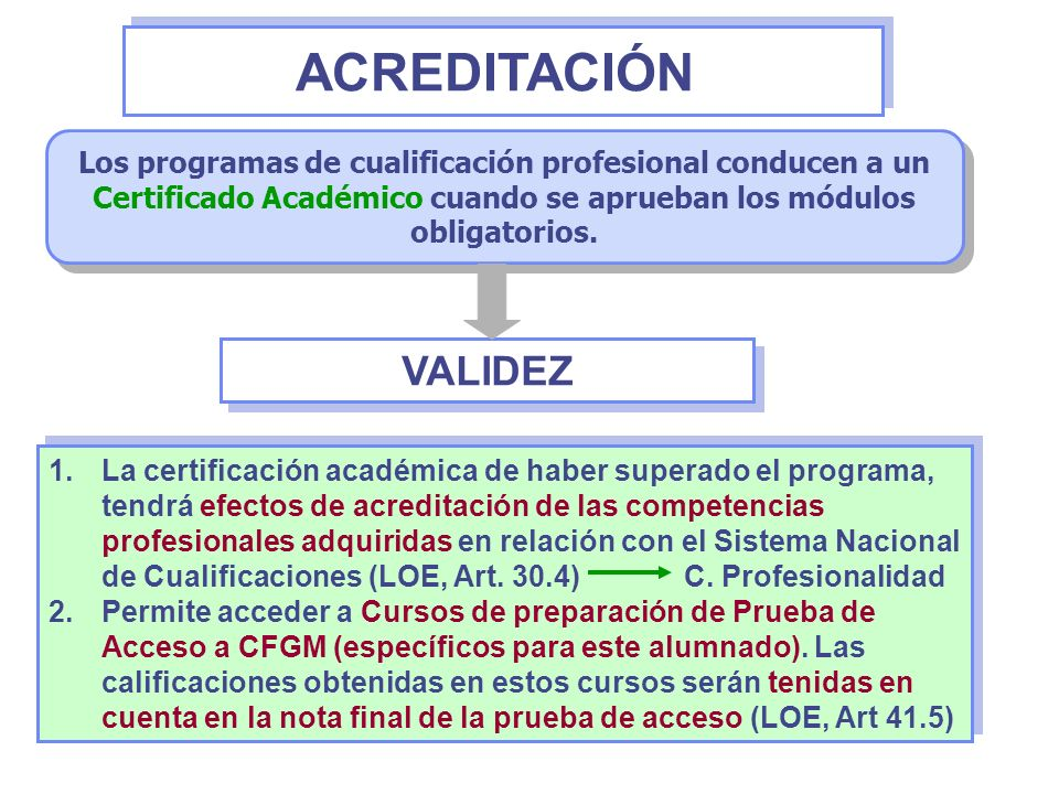 ACREDITACIÓN Los programas de cualificación profesional conducen a un Certificado Académico cuando se aprueban los módulos obligatorios.