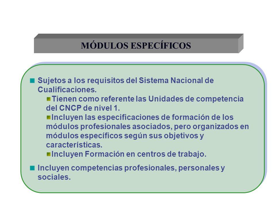 MÓDULOS ESPECÍFICOS Sujetos a los requisitos del Sistema Nacional de Cualificaciones.