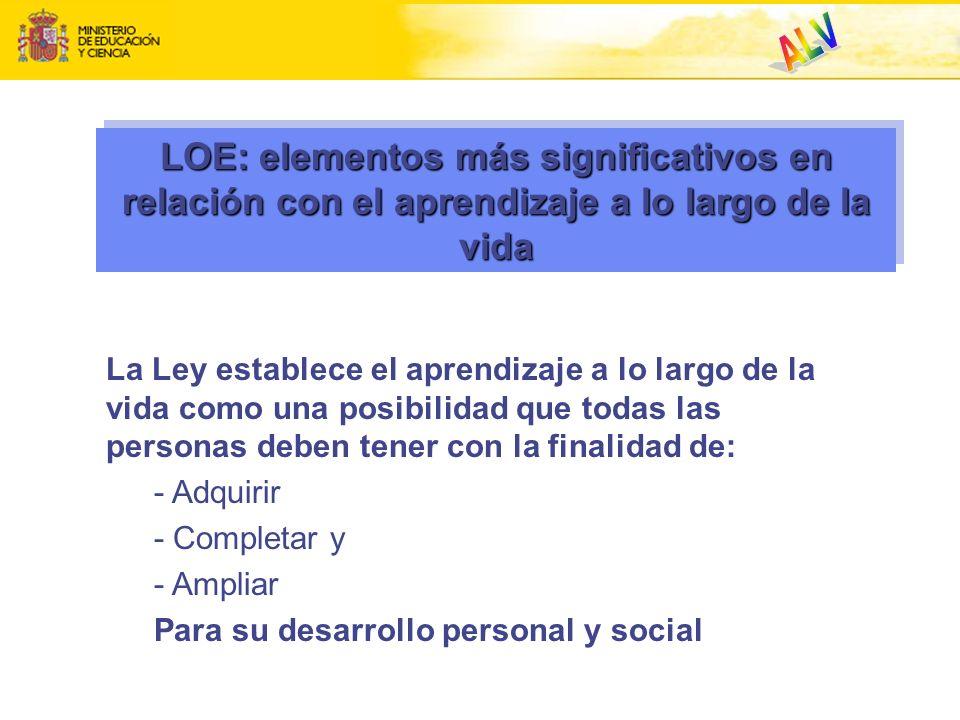 ALV. LOE: elementos más significativos en relación con el aprendizaje a lo largo de la vida.