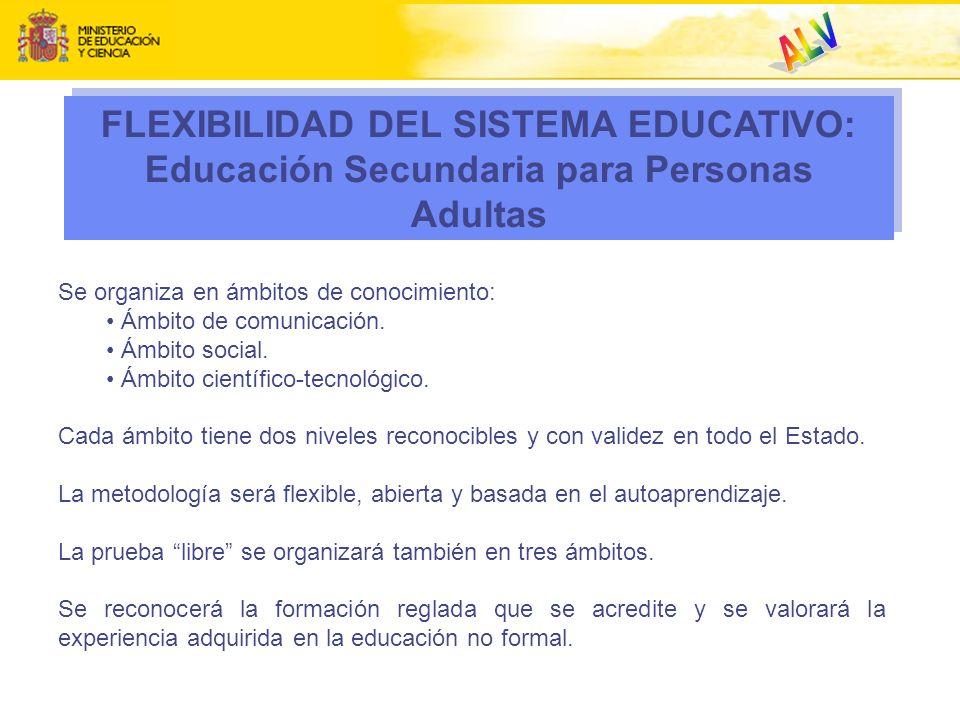 ALV. FLEXIBILIDAD DEL SISTEMA EDUCATIVO: Educación Secundaria para Personas Adultas. Se organiza en ámbitos de conocimiento: