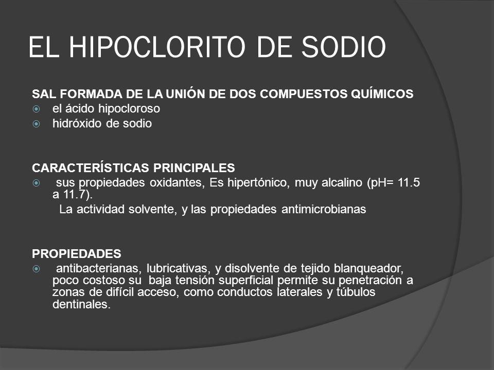 Tecnica de materiales y obturacion ppt descargar for Hipoclorito de sodio para piscinas