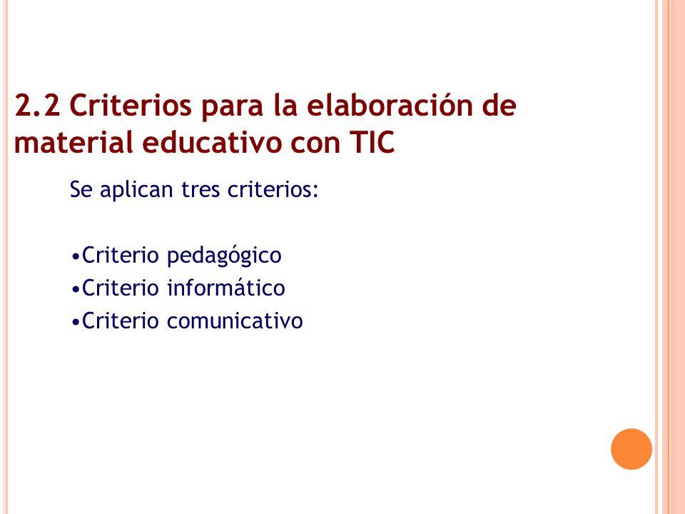 2.2 Criterios para la elaboración de material educativo con TIC