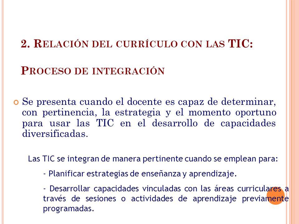 2. Relación del currículo con las TIC: Proceso de integración