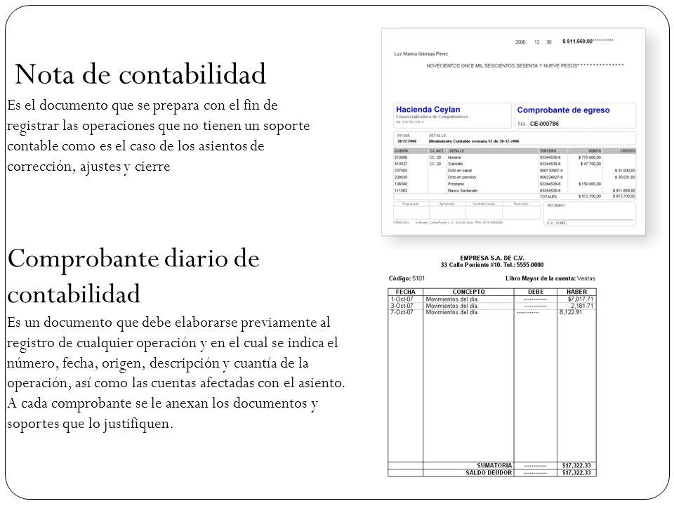 Nota de contabilidad Comprobante diario de contabilidad