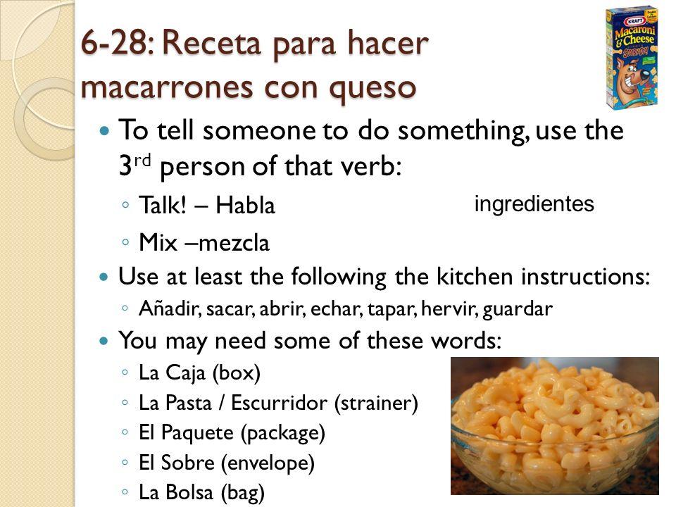6-28: Receta para hacer macarrones con queso