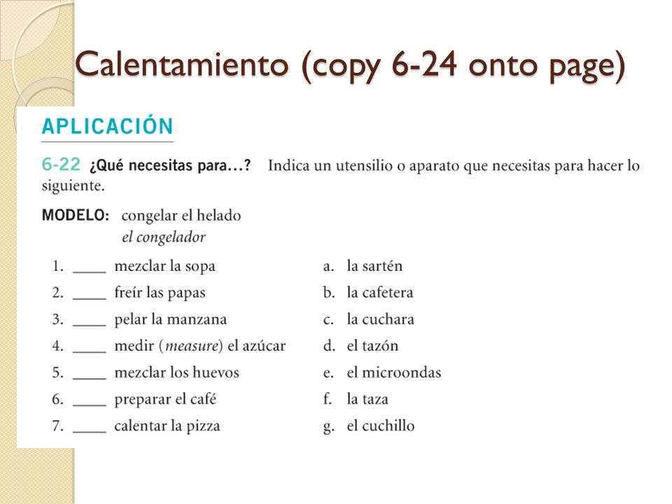 Calentamiento (copy 6-24 onto page)