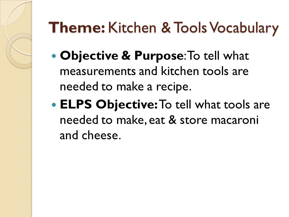 Theme: Kitchen & Tools Vocabulary