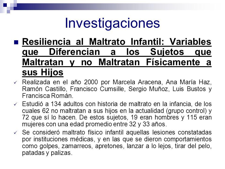 Investigaciones Resiliencia al Maltrato Infantil: Variables que Diferencian a los Sujetos que Maltratan y no Maltratan Físicamente a sus Hijos.