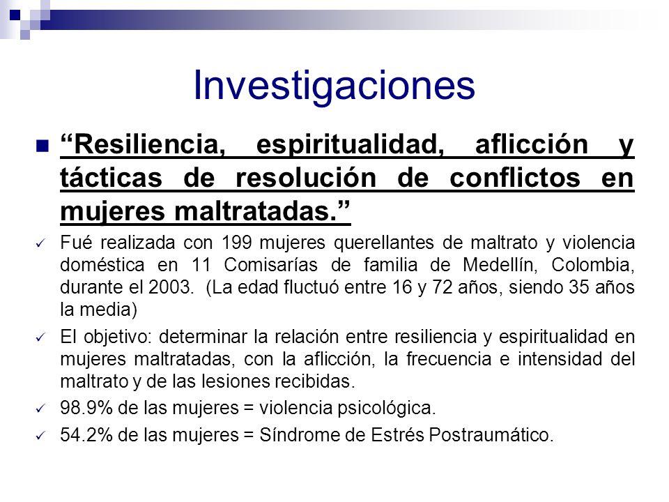 Investigaciones Resiliencia, espiritualidad, aflicción y tácticas de resolución de conflictos en mujeres maltratadas.