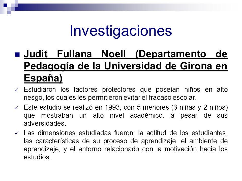 Investigaciones Judit Fullana Noell (Departamento de Pedagogía de la Universidad de Girona en España)