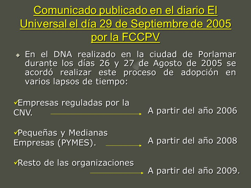 Comunicado publicado en el diario El Universal el día 29 de Septiembre de 2005 por la FCCPV