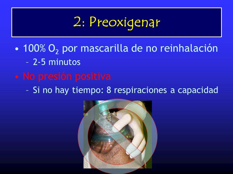 2: Preoxigenar 100% O2 por mascarilla de no reinhalación