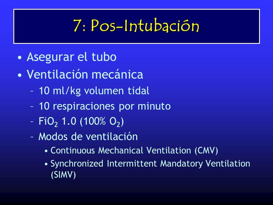 7: Pos-Intubación Asegurar el tubo Ventilación mecánica