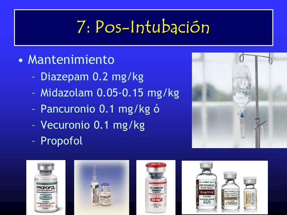 7: Pos-Intubación Mantenimiento Diazepam 0.2 mg/kg