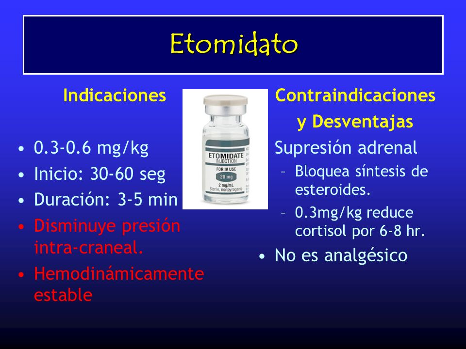 Etomidato Indicaciones 0.3-0.6 mg/kg Inicio: 30-60 seg