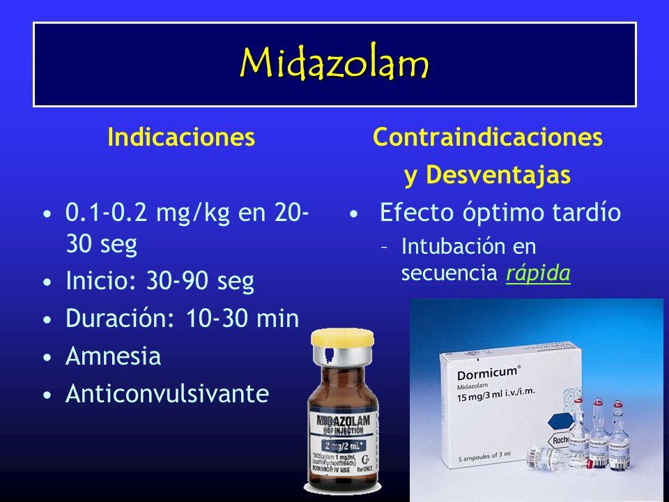 Midazolam Indicaciones 0.1-0.2 mg/kg en 20-30 seg Inicio: 30-90 seg