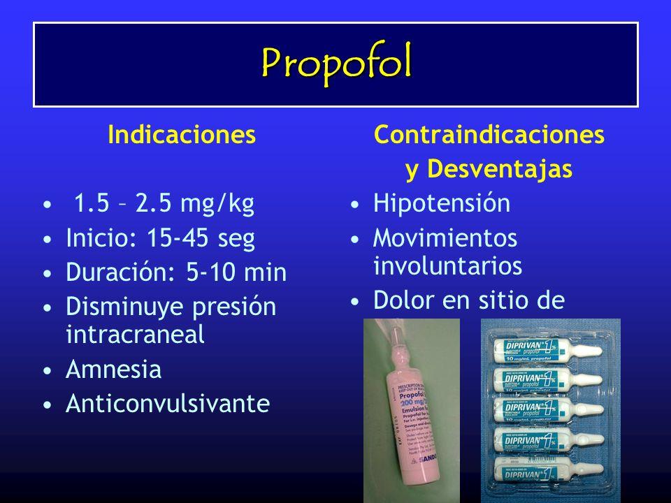 Propofol Indicaciones 1.5 – 2.5 mg/kg Inicio: 15-45 seg