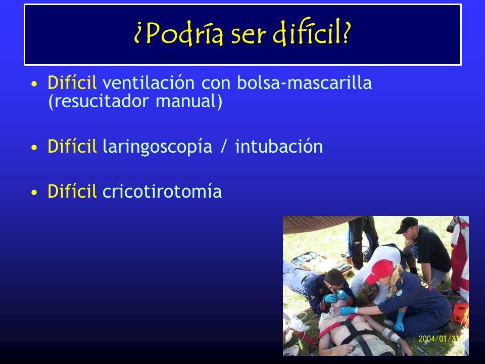 ¿Podría ser difícil Difícil ventilación con bolsa-mascarilla (resucitador manual) Difícil laringoscopía / intubación.