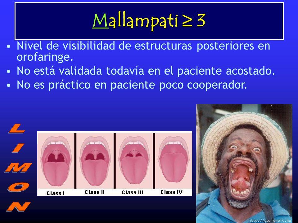 Mallampati ≥ 3 Nivel de visibilidad de estructuras posteriores en orofaringe. No está validada todavía en el paciente acostado.
