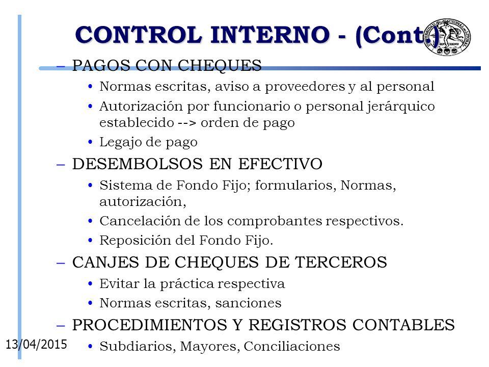 CONTROL INTERNO - (Cont.)