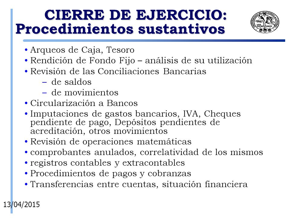 CIERRE DE EJERCICIO: Procedimientos sustantivos