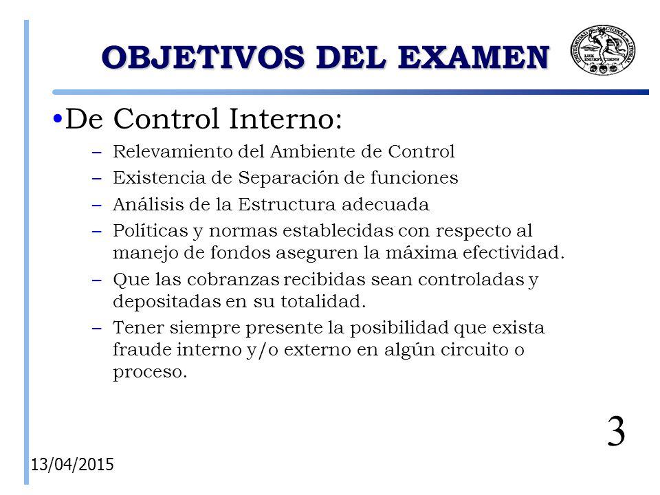 3 OBJETIVOS DEL EXAMEN De Control Interno: