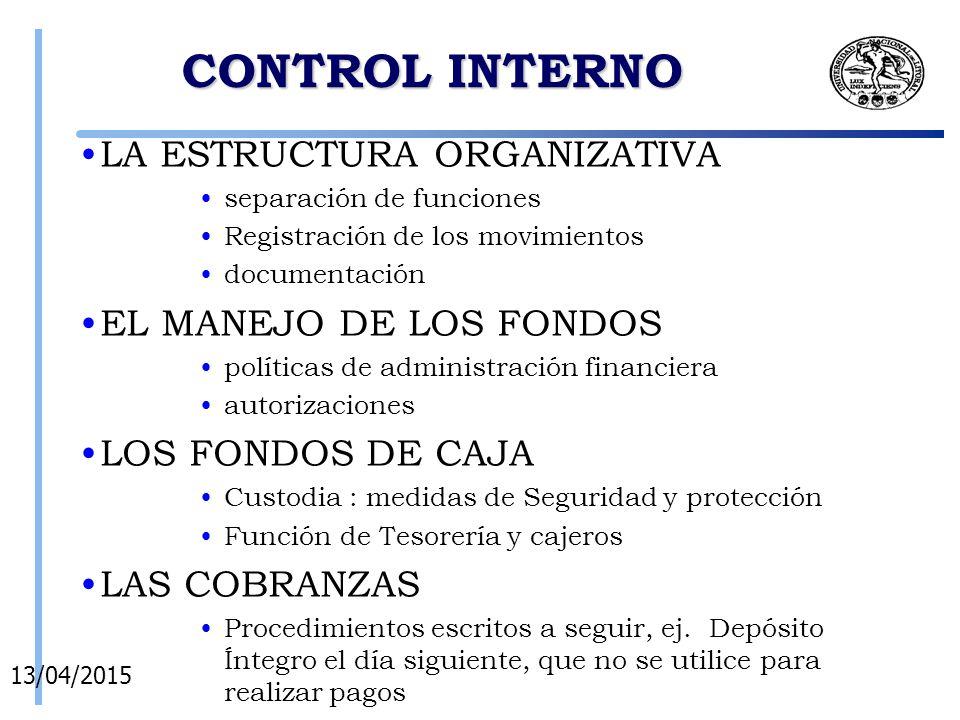 CONTROL INTERNO LA ESTRUCTURA ORGANIZATIVA EL MANEJO DE LOS FONDOS