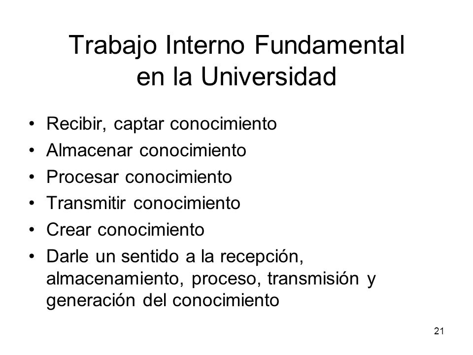 Trabajo Interno Fundamental en la Universidad