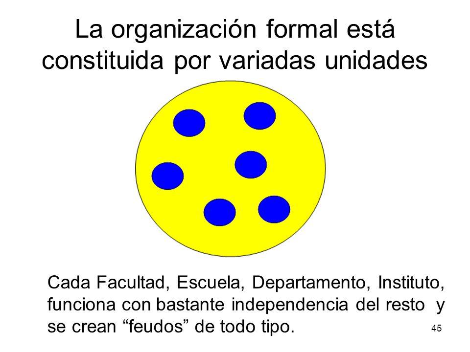 La organización formal está constituida por variadas unidades