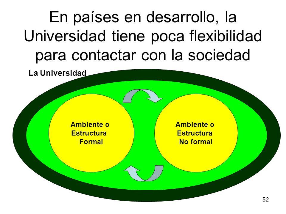 En países en desarrollo, la Universidad tiene poca flexibilidad para contactar con la sociedad
