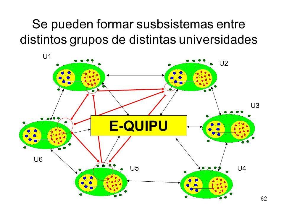 Se pueden formar susbsistemas entre distintos grupos de distintas universidades