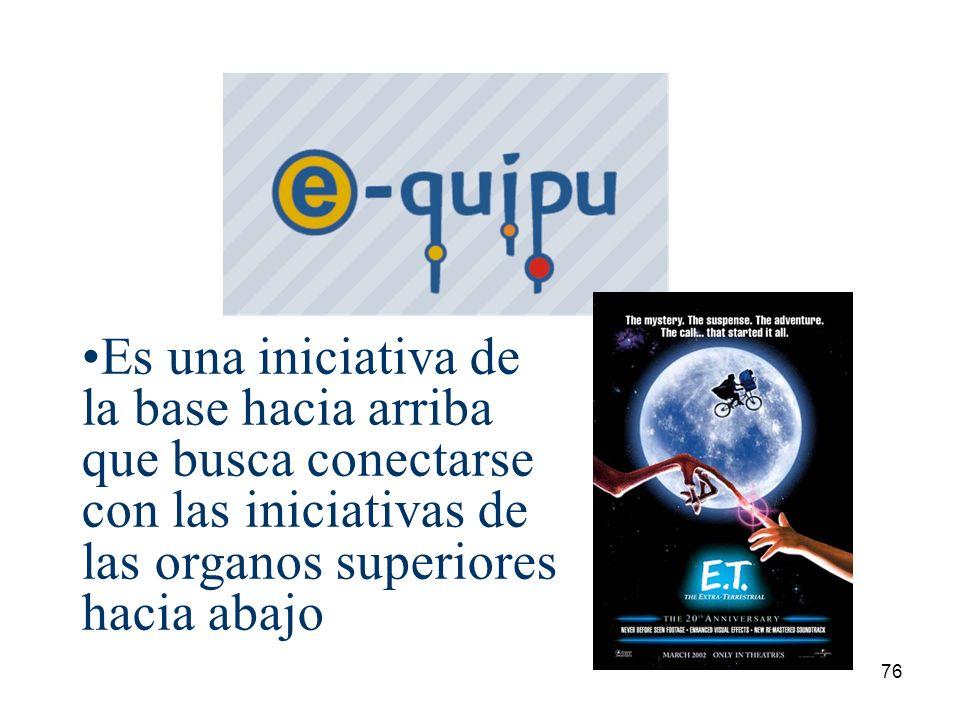 Es una iniciativa de la base hacia arriba que busca conectarse con las iniciativas de las organos superiores hacia abajo