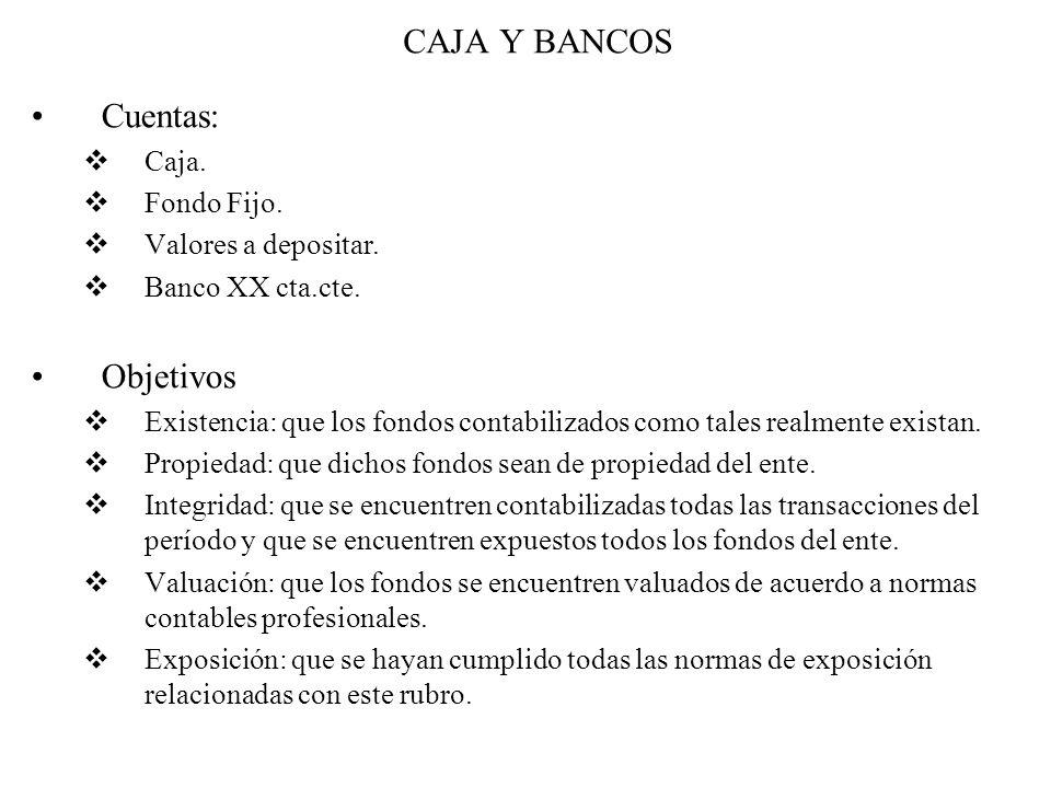 CAJA Y BANCOS Cuentas: Objetivos Caja. Fondo Fijo.