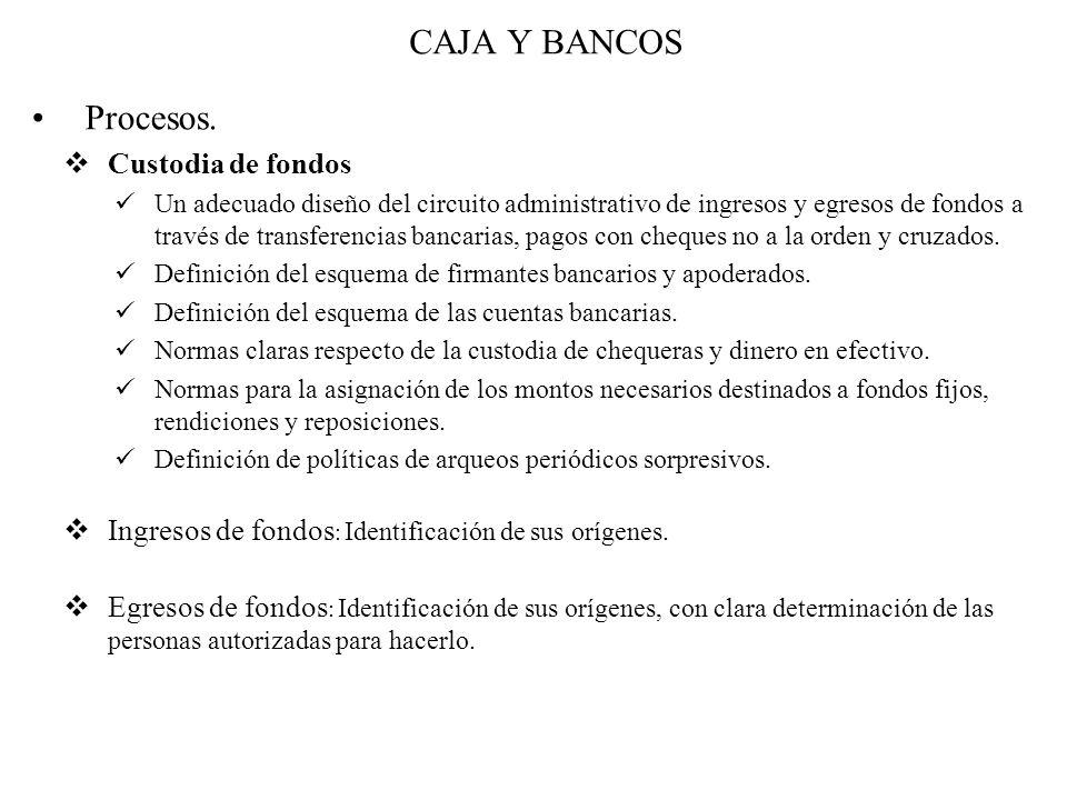 CAJA Y BANCOS Procesos. Custodia de fondos