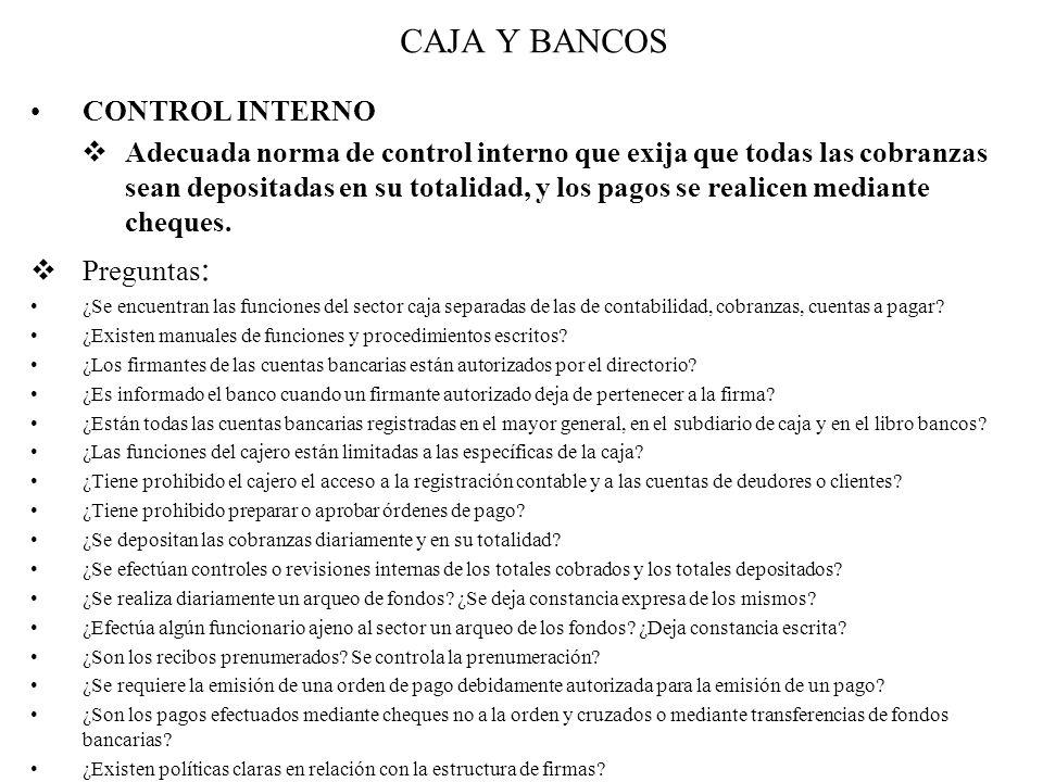 CAJA Y BANCOS CONTROL INTERNO