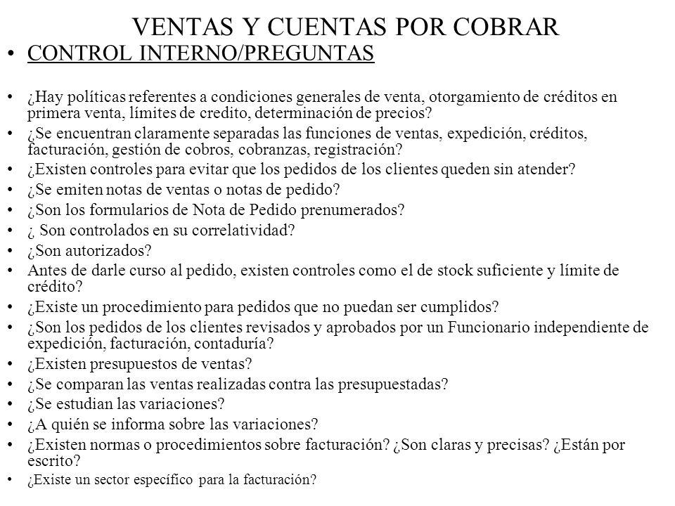 VENTAS Y CUENTAS POR COBRAR