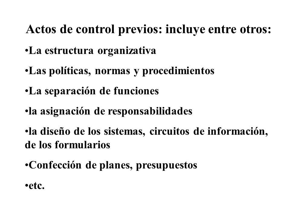 Actos de control previos: incluye entre otros: