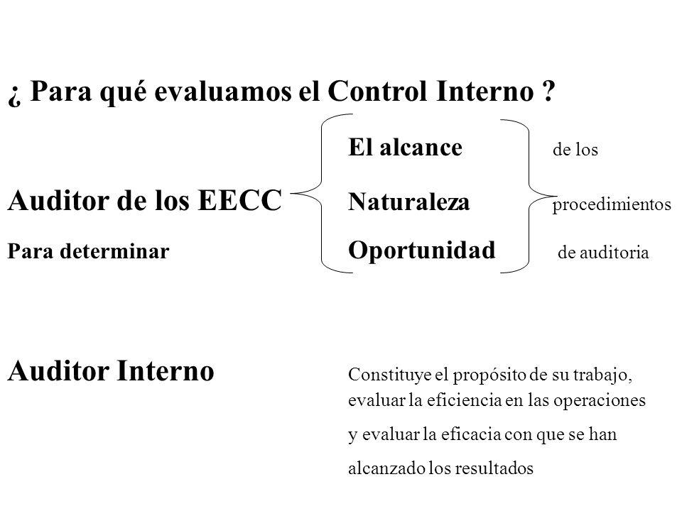 ¿ Para qué evaluamos el Control Interno El alcance de los