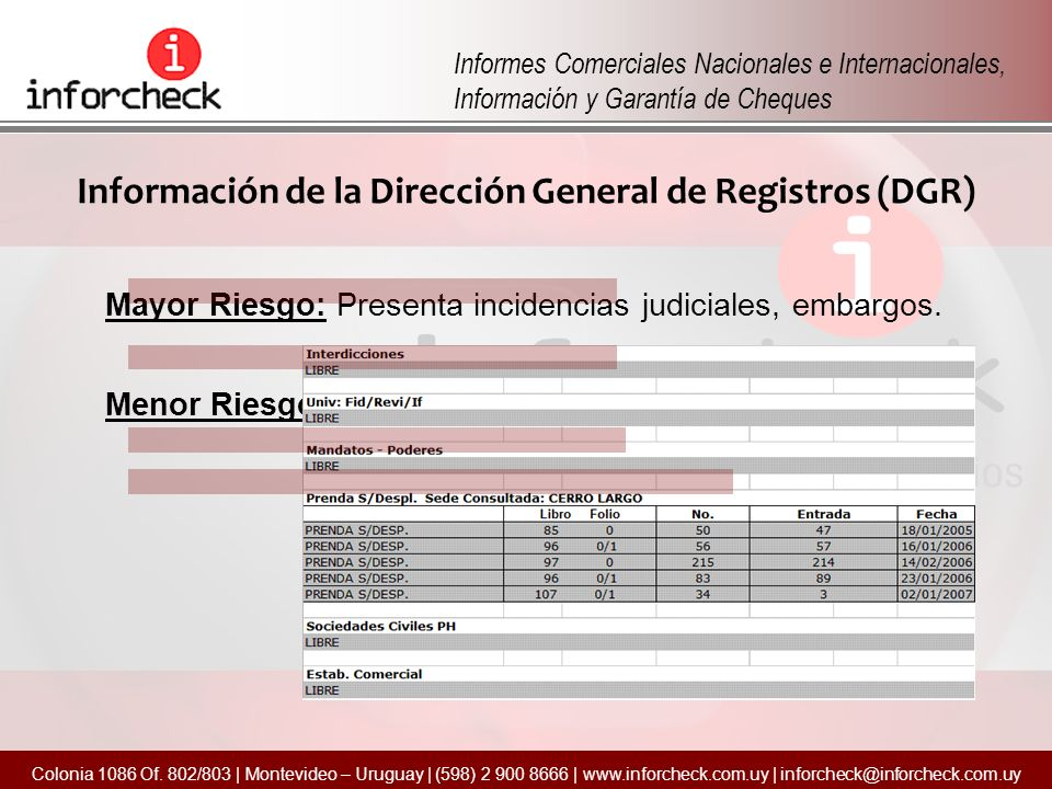 Información de la Dirección General de Registros (DGR)